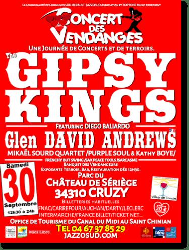 Concert des  Vendanges 2017 le 30 septembre avec les GIPSY KINGS